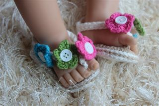 Handmade Knit Crochet Multi White Baby Flower Sandals Shoes Newborn Photo Props