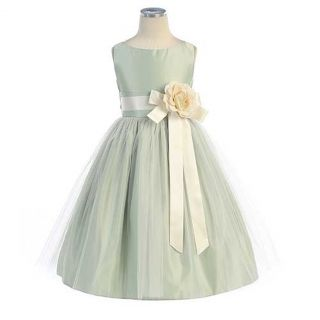 Sweet Kids Little Girls Size 4 Sage Tulle Easter Flower Girl Dress