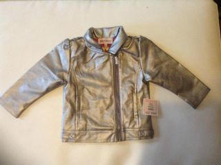 Juicy Couture Baby Girl Clothes Leather Jacket Silver Gray Size 18 Months