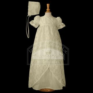 Baby Girls Ivory Vintage Lace Baptism Dress Gown 3M