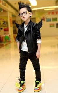 Trendy Toddler Boys Girls Faux Leather Back Angel Wing Coat Kids Jacket 2 7Years