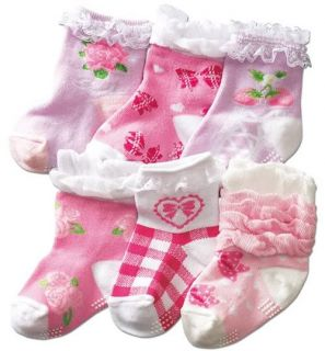 6 Pairs Baby Toddler Kids Girls Nonskid Child Socks Anti Slip Ruffle Lace 12M 2T