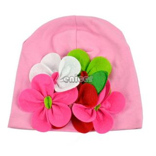 Kid Baby Girls Hand Made Flowers Knitted Cap Children Cotton Hat Headwear ENE