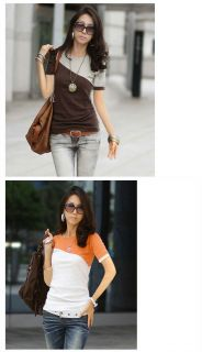 Ladies Womens Short Sleeve Slim Fit Two Tone Colors Shirt Blouse T Shirt Top
