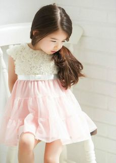 1pc Baby Girls Toddler Kids Lace Rose Party Dress Cool Outfit Clothes