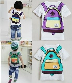 "Baby Girls Boys T Shirts Kids Boys Girls T Shirt ""School Bag ""Size 2 8T T2"