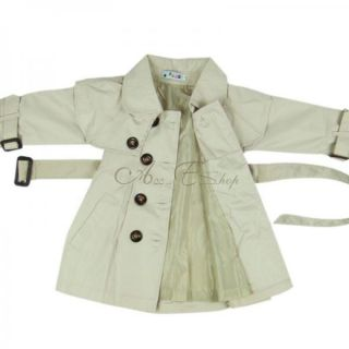 Girl Kid Toddler Autumn Double Breasted Trench Coat Wind Jacket Waistband Sz 4 8