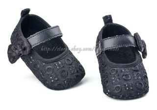 Baby Girl Black Mary Jane Soft Sole Dress Crib Shoes Size 1 2 3