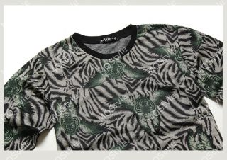 Mens Casual Crewneck Tiger Print Long Sleeve Hip Hop Stylish Shirts Hoodies N511