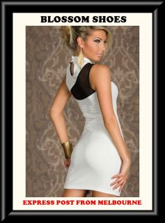 Sexy White Black Sleeveless Womens Formal Dance Club Party Mini Dress Sz s 8 10