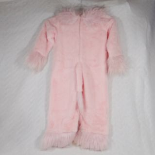 Furry Pink Cat Girl Child Halloween Costume Size XS 4 Jumpsuit w Ears Tiara