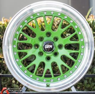 15x8 Redline RD144 1 5 Lip 4x100 4x114 3 25 Green Machine Lip Wheel Acura Honda
