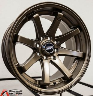 "15x8 Str 522 4x100 4x114 3 15 1"" Lip Bronze Rim Wheel JDM Racing Aggressive"
