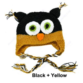 Fashion Toddler Baby Girls Boys Cute Owls Animal Crochet Knit Woolly Cap Ear Hat