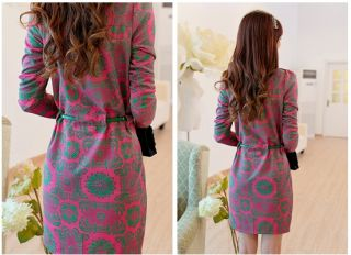 Womens Korea Vintage Retro Palace Print Long Sleeve Slim OL Dress R366