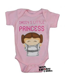 Star Wars Cute Leia Daddy's Little Princess Licensed Baby Infant Snapsuit