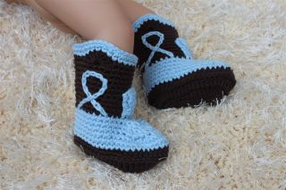 Cute Handmade Knit Crochet Cowboy Baby Boots Shoes Newborn Photo Prop 6 Color