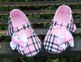 Newborn Reborn Baby Girl's Pink Plaid Soft Sole Crib Shoes Size 3 6 12 Months