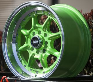 "15x8 Str 504 4x100 25 3"" Lip Green Wheel Fit Honda CRX Civic SI EK6 EK9 Cabrio"
