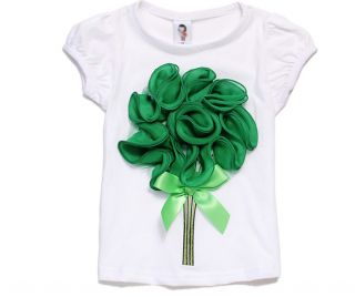 New Size 1 6Y Toddlers Girls Top Kids 3D Flower Short Sleeve T Shirt TG028