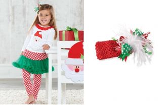 Mud Pie Baby Girls Santa Pettiskirt Set 2 PC Tutu Outfit 111A053 Christmas New