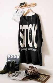 New Womens Korean Style Fashion Letters Printing Batwing Loose T Shirt Top K108