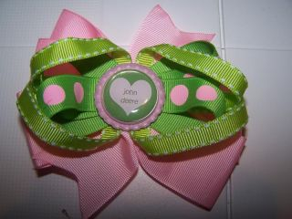 Hair Bow Boutique Girl John Deere Bottlecap Baby Toddler Pink Green Polka Dot