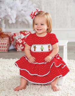 Mud Pie Baby Girls Holiday Best Red Christmas Smocked Party Dress 114A001 New