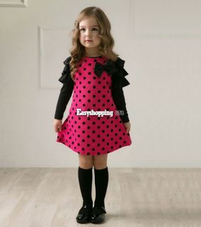 Hot Children Clothes Cute Girls Princess Lovely Dots One Piece Dress 4 Sizes
