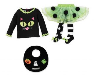 Mud Pie Baby Girls Trick or Treat Halloween Black Cat Tutu Skirt Set 111A007 New