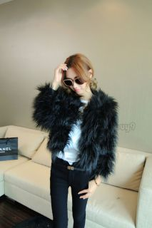 New Women's Winter Warm Faux Fur Long Sleeve Feather Jacket Coat Waistcoat