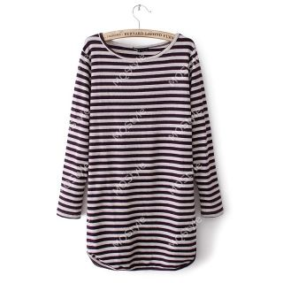Womens Girls Fashion Crewneck Stripes Print Long Sleeve Sexy Mini Dress B2887