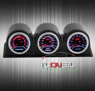 Air Fuel Ratio Gauges Exhaust Gas Temp Tachometer Carbon Fiber Pod Holders