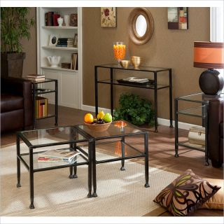 Holly & Martin Guthrie Tempered Glass Metal Table Collection in Distressed Black   99 113 074 1 01