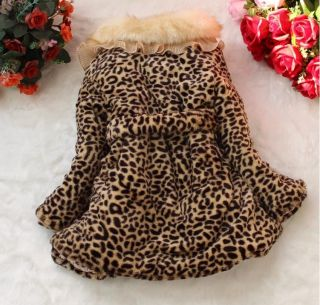 Baby Toddler Girls Faux Fur Leopard Coat Kids Winterwarm Jacket Snowsuit 3 4Year