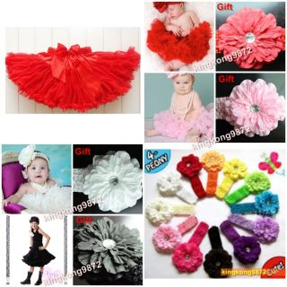 Baby Girl Pettiskirt Wedding Party Dance Tutu Dress 6M 6T Free Headband D002