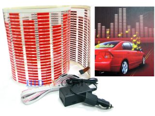 Sound Music Activated Sensor Light Equalizer Red LED 12V Car Sticker 90x25 Cm