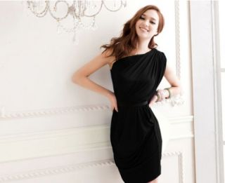 Women Sexy Elegant Mini Dress Pleated Asymmetric One Shoulder Cocktail Party