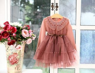 New Girls Lace Flowers Clothing Tulle Princess Tutu Dress 2 7Y Clothes AD011