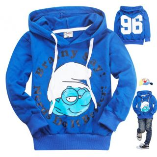 New Kids Boys Girls Funny The Smurfs Long Sleeve Hoodies Tops 6 7Years 130