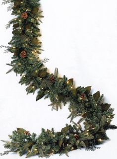"6' x 12"" Pre Lit Green River Spruce Artificial Christmas Garland Clear Lights"