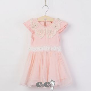 NTW Kids Girls Princess Birthday Party Tutu Dress Pearl Collar Summer 3 7T