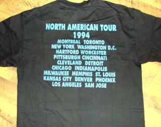 Eric Clapton 1994 North American Concert Tour Vintage Black Tee Shirt w Cities