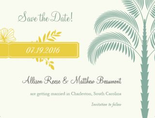 Palm Tree Save The Date Cards Envelopes Wedding