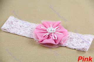 New Cute Baby Toddler Lace Chiffon Pearl Flower Elastic Soft Hair Band Headband