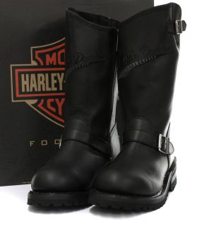 New Harley Davidson Trail Boss Black Mens Biker Boots All Sizes