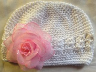 Boutique Ice Rose Clip Baby Girl Hat Beanie Headband Pink Hotpink