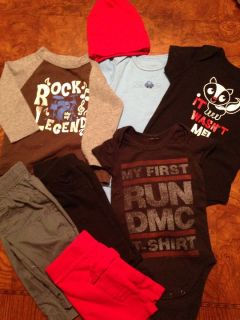Baby Boy 3 Month Rock N Roll Clothing Lot Infant Run DMC Hip Hop Red Black