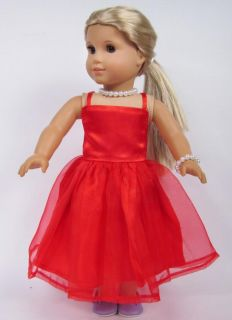 Doll Clothes for 18'' American Girl Handmade Red Wedding Dress Gown B20