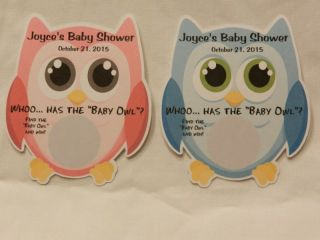 Unique Personalized Cute Owl Baby Shower Party Favor Scratch Off Lotto Game Card